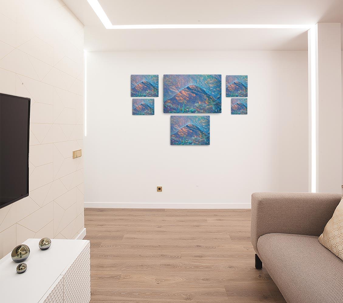 Reproducción de arte en lienzo - salón - Alba en las Planas - Óleo - Paisaje - Puntillismo -pintado por Fernando Pagador