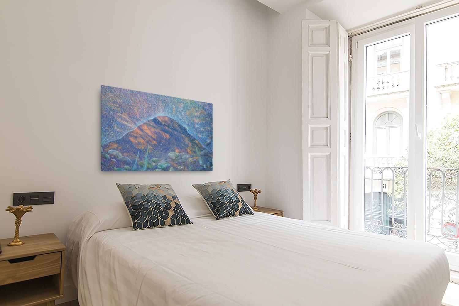Reproducción de arte en lienzo - dormitorio con balcón - Alba en las Planas - Óleo - Paisaje - Puntillismo -pintado por Fernando Pagador