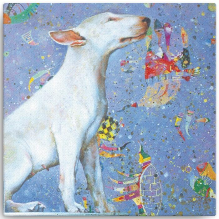 Reproducción de arte en lienzo 30x30 cm - El Perro de Kandinsky - Óleo - Realismo Cósmico-pintado por Fernando Pagador