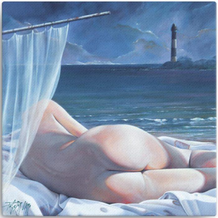 Reproducción de arte en lienzo 30x30 cm - Momento de Descanso - Óleo - Paisaje con modelo - Realismo -pintado por Fernando Pagador