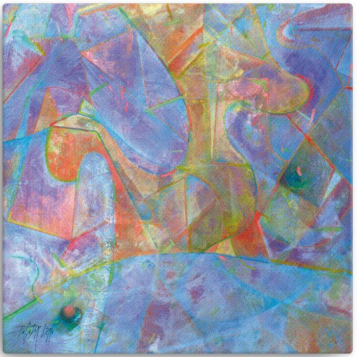 Reproducción de arte en lienzo 30x30 cm - Espacio de Comunicación - Encáustico - Geometria y Abstracción - Matérica -pintado por Fernando Pagador