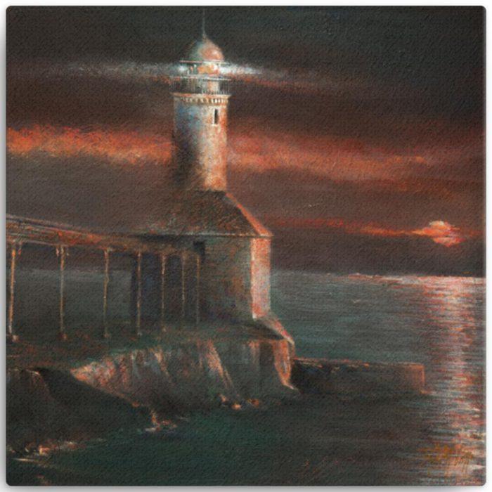 Reproducción de arte en lienzo 30x30 cm - Matutino - Óleo - Paisaje costero - Impresionismo -pintado por Fernando Pagador