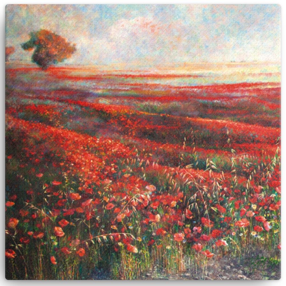 Reproducción de arte en lienzo 30x30 cm - Termino de Valverde 1 - Óleo - Paisaje - Naturalismo -pintado por Fernando Pagador