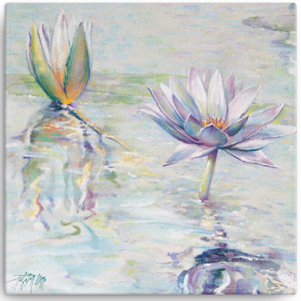 Reproducción de arte en lienzo 30x30 cm - Agua II - Óleo - Paisaje - Naturalismo -pintado por Fernando Pagador
