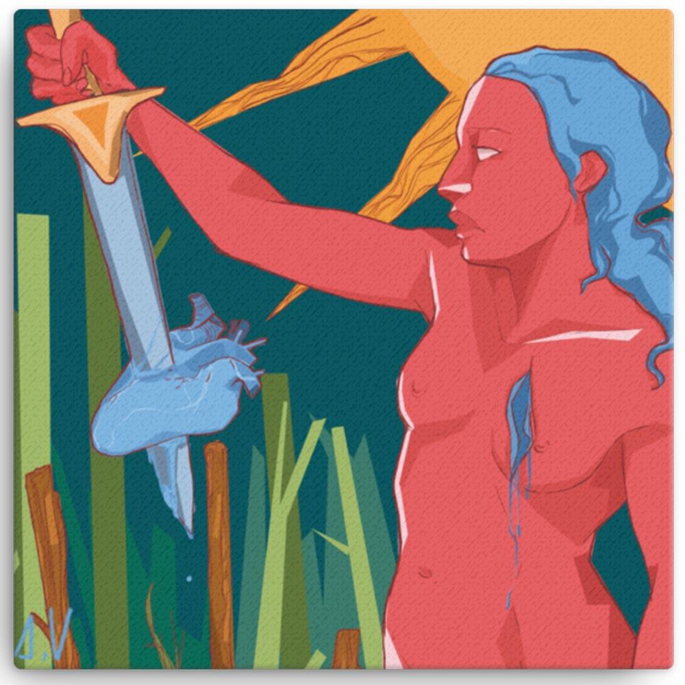 Reproducción de arte en lienzo 30x30 cm - La Fuerza de Acuario - Diseño Digital - Zodiaco - Ilustración -pintado por Aida Valdayo