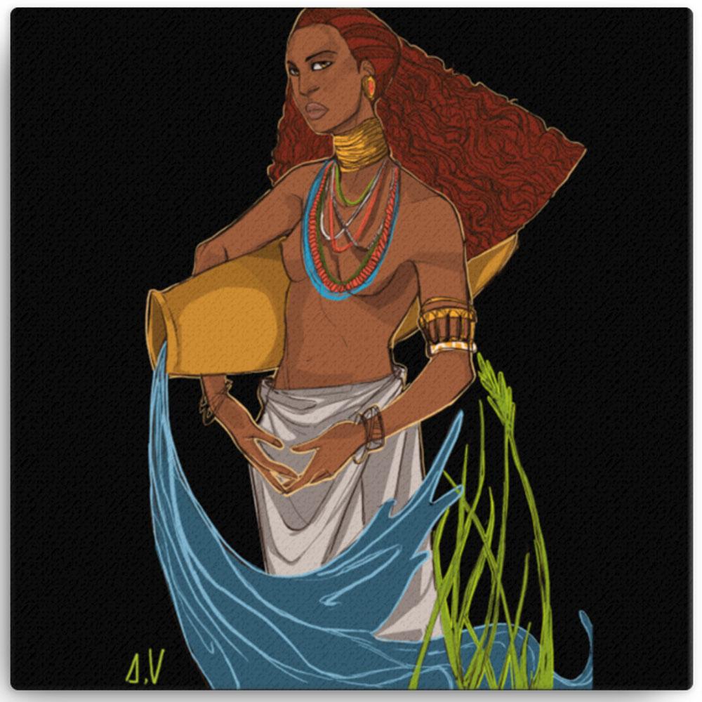 Reproducción de arte en lienzo 30x30 cm - El Espiritu de Acuario - Diseño Digital - Zodiaco - Ilustración -pintado por Aida Valdayo