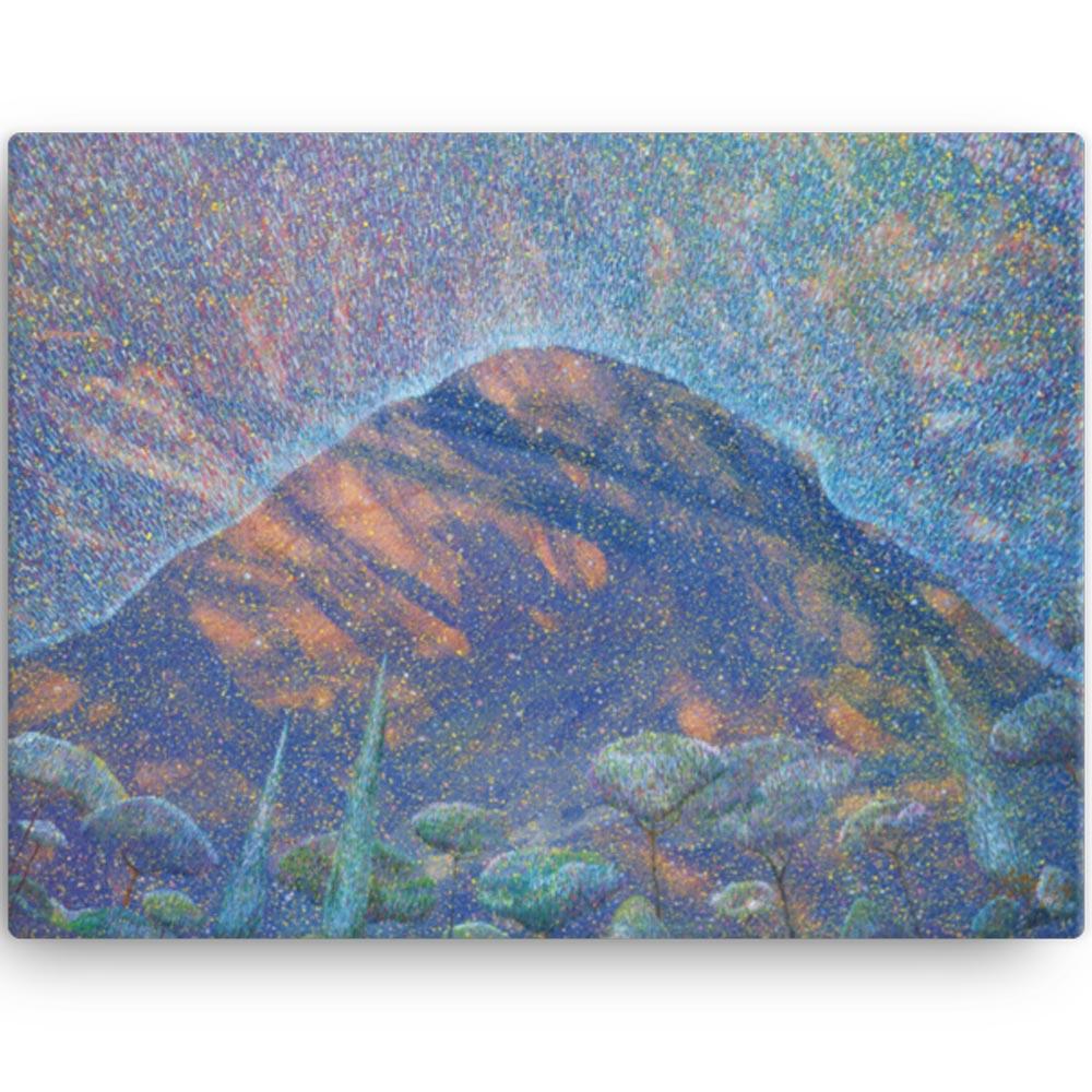 Reproducción de arte en lienzo 30x41 cm - Alba en las Planas - Óleo - Paisaje - Puntillismo -pintado por Fernando Pagador