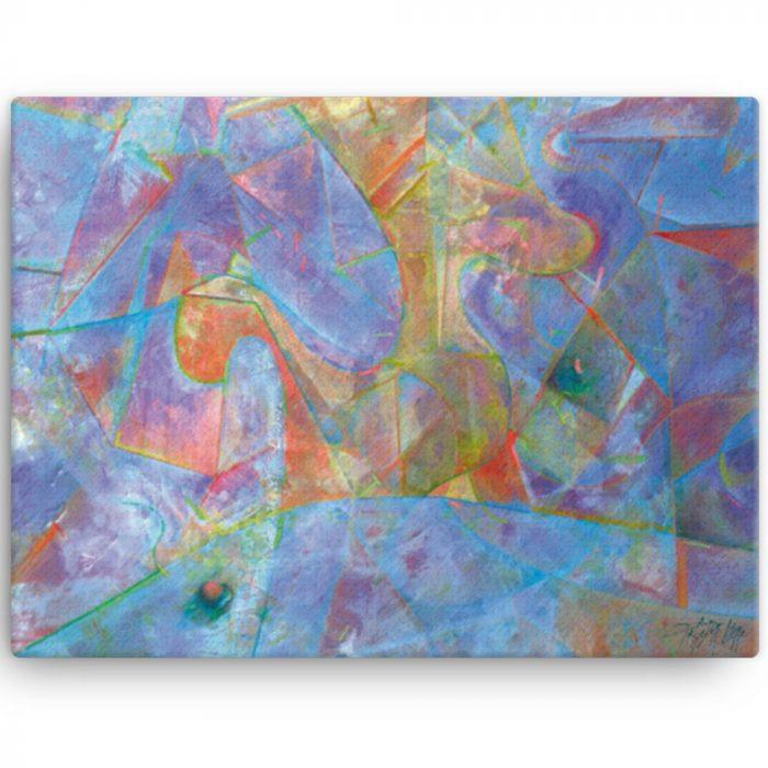 Reproducción de arte en lienzo 30x41 cm - Espacio de Comunicación - Encáustico - Geometria y Abstracción - Matérica -pintado por Fernando Pagador