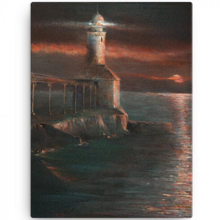 Reproducción de arte en lienzo 30x41 cm - Matutino - Óleo - Paisaje costero - Impresionismo -pintado por Fernando Pagador