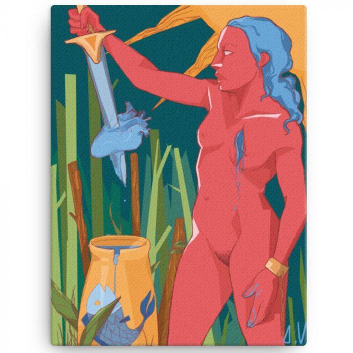 Reproducción de arte en lienzo 30x41 cm - La Fuerza de Acuario - Diseño Digital - Zodiaco - Ilustración -pintado por Aida Valdayo