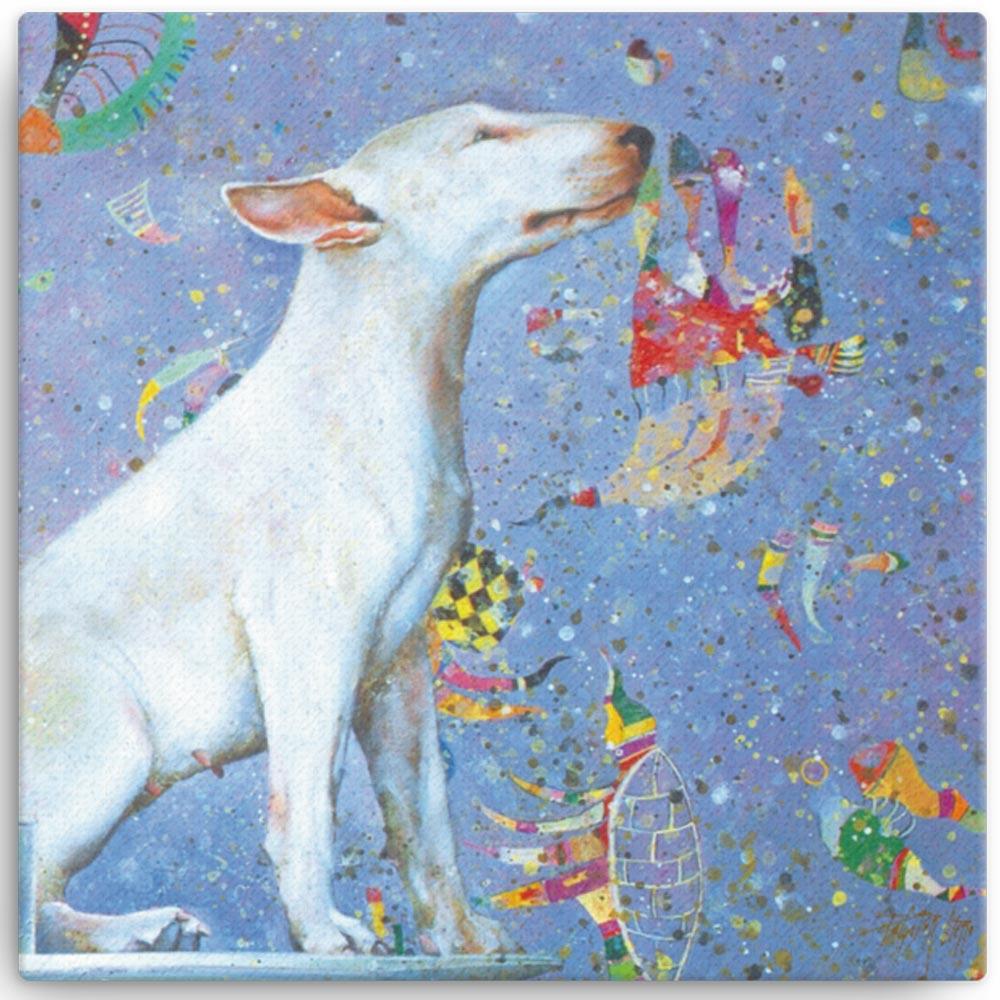 Reproducción de arte en lienzo 41x41 cm - El Perro de Kandinsky - Óleo - Realismo Cósmico-pintado por Fernando Pagador