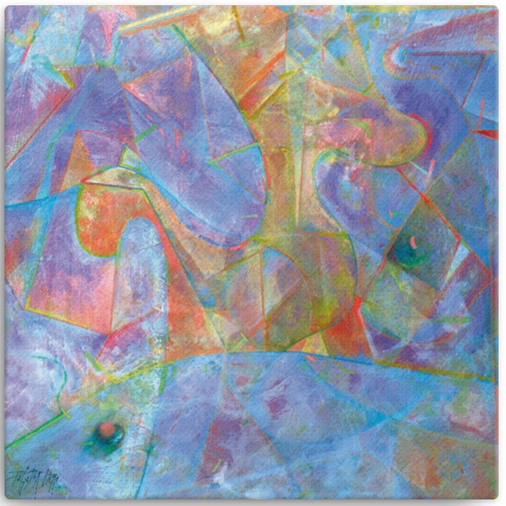 Reproducción de arte en lienzo 41x41 cm - Espacio de Comunicación - Encáustico - Geometria y Abstracción - Matérica -pintado por Fernando Pagador