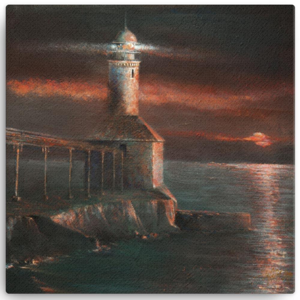 Reproducción de arte en lienzo 41x41 cm - Matutino - Óleo - Paisaje costero - Impresionismo -pintado por Fernando Pagador