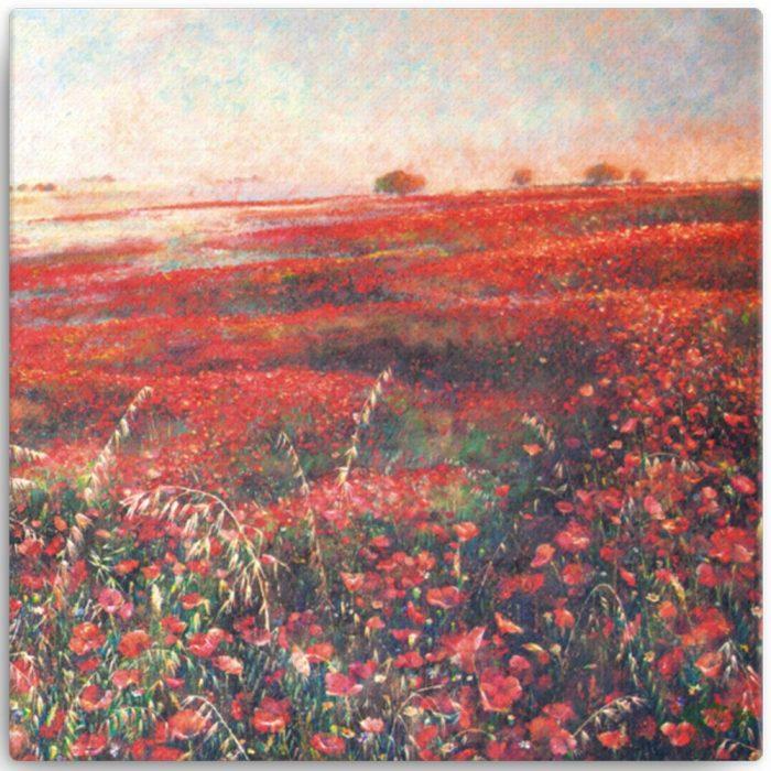 Reproducción de arte en lienzo 41x41 cm - Termino de Valverde 3 - Óleo - Paisaje - Naturalismo -pintado por Fernando Pagador