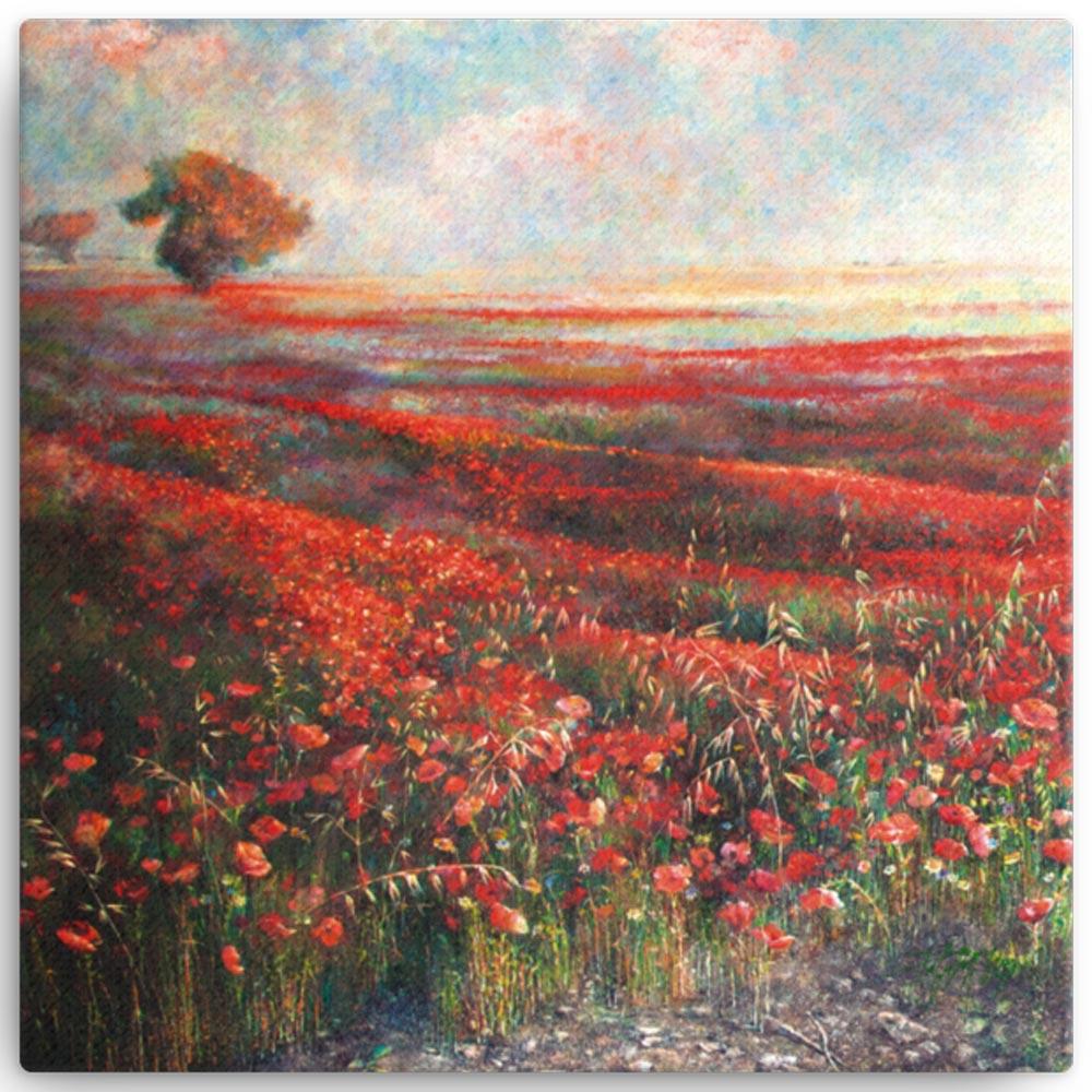 Reproducción de arte en lienzo 41x41 cm - Termino de Valverde 1 - Óleo - Paisaje - Naturalismo -pintado por Fernando Pagador