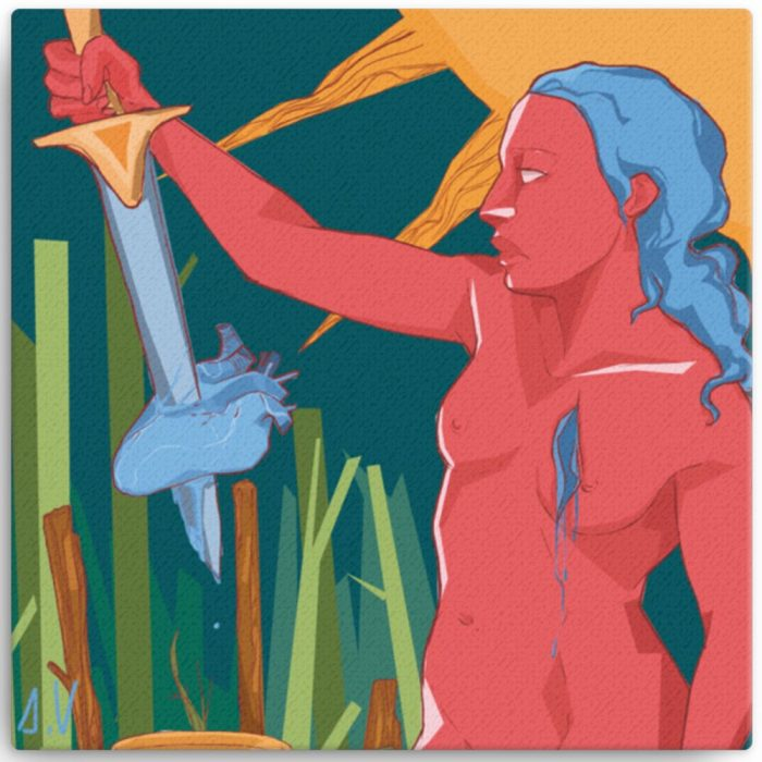 Reproducción de arte en lienzo 41x41 cm - La Fuerza de Acuario - Diseño Digital - Zodiaco - Ilustración -pintado por Aida Valdayo