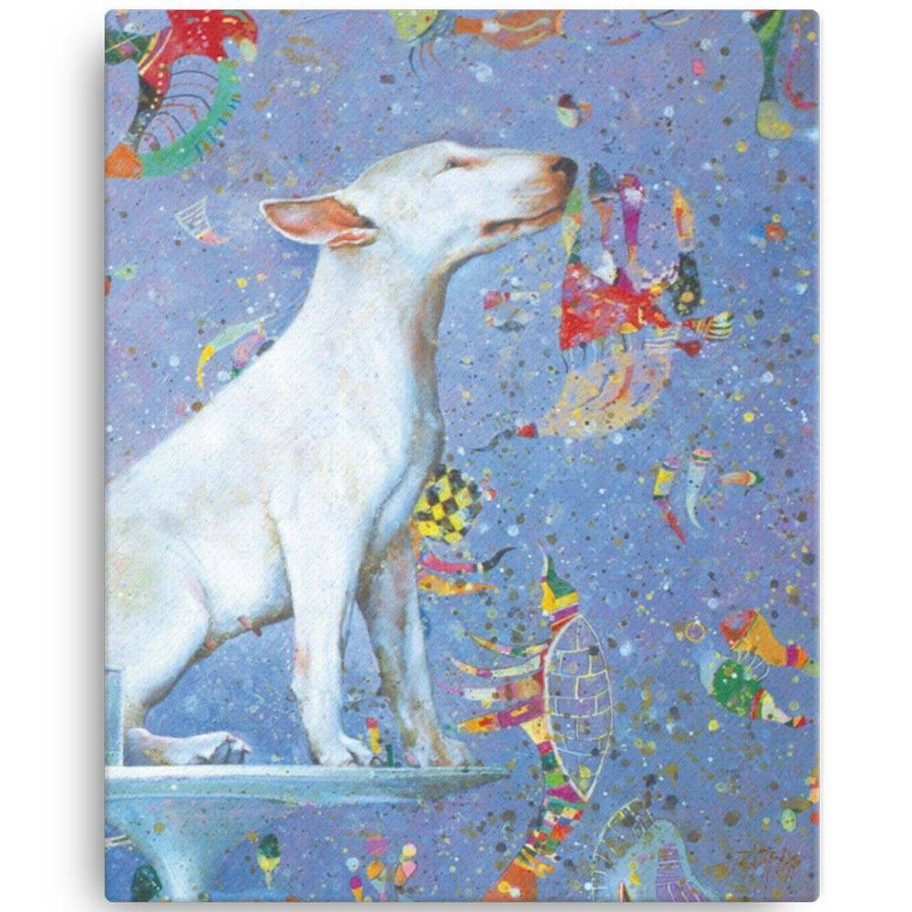 Reproducción de arte en lienzo 41x51 cm - El Perro de Kandinsky - Óleo - Realismo Cósmico-pintado por Fernando Pagador