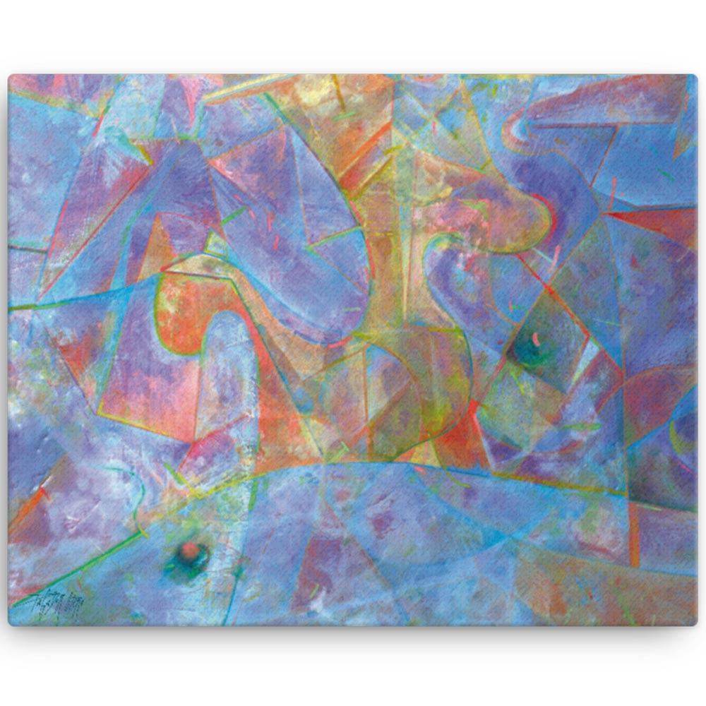 Reproducción de arte en lienzo 41x51 cm - Espacio de Comunicación - Encáustico - Geometria y Abstracción - Matérica -pintado por Fernando Pagador