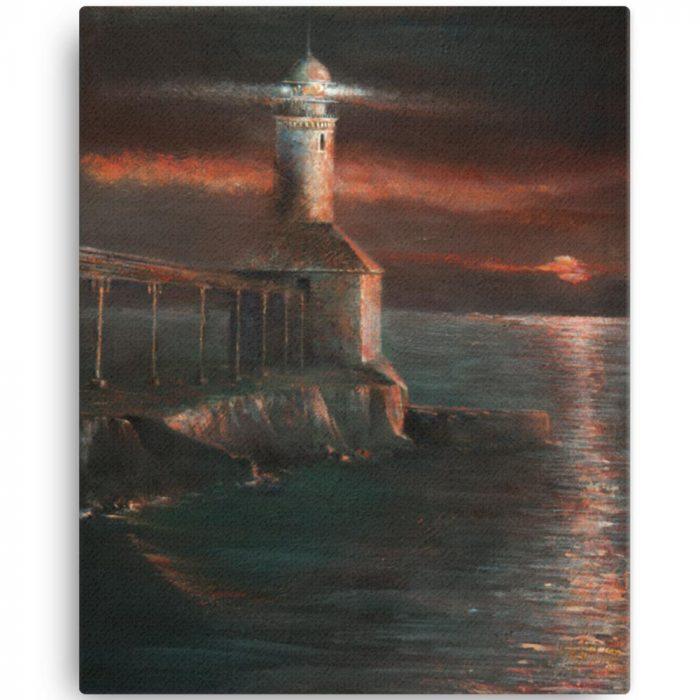 Reproducción de arte en lienzo 41x51 cm - Matutino - Óleo - Paisaje costero - Impresionismo -pintado por Fernando Pagador