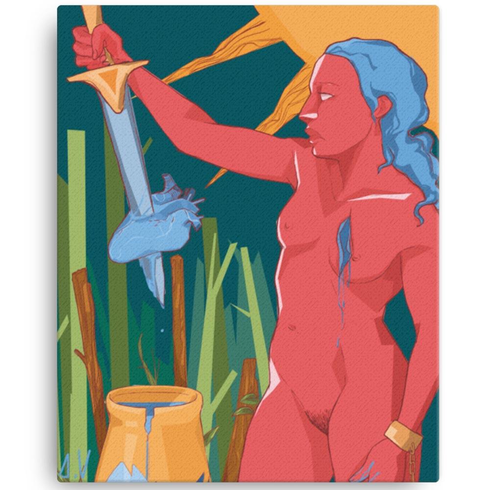 Reproducción de arte en lienzo 41x51 cm - La Fuerza de Acuario - Diseño Digital - Zodiaco - Ilustración -pintado por Aida Valdayo