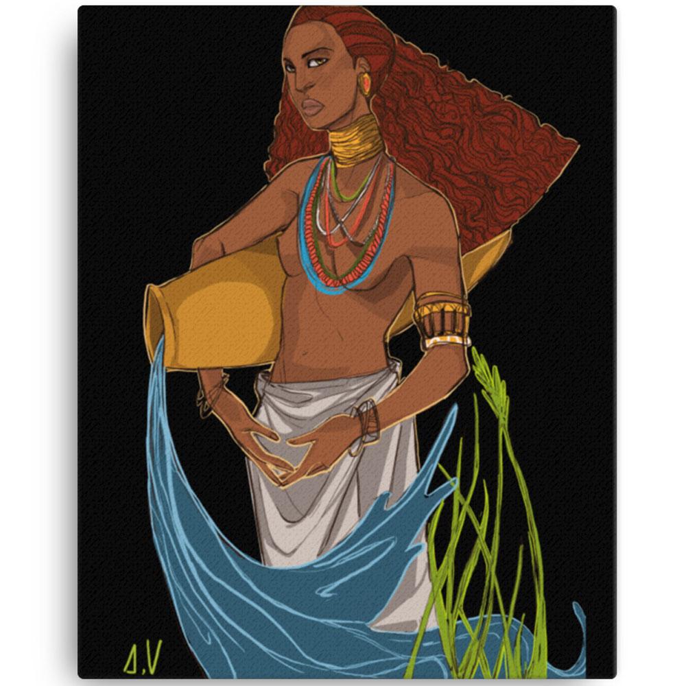 Reproducción de arte en lienzo 41x51 cm - El Espiritu de Acuario - Diseño Digital - Zodiaco - Ilustración -pintado por Aida Valdayo