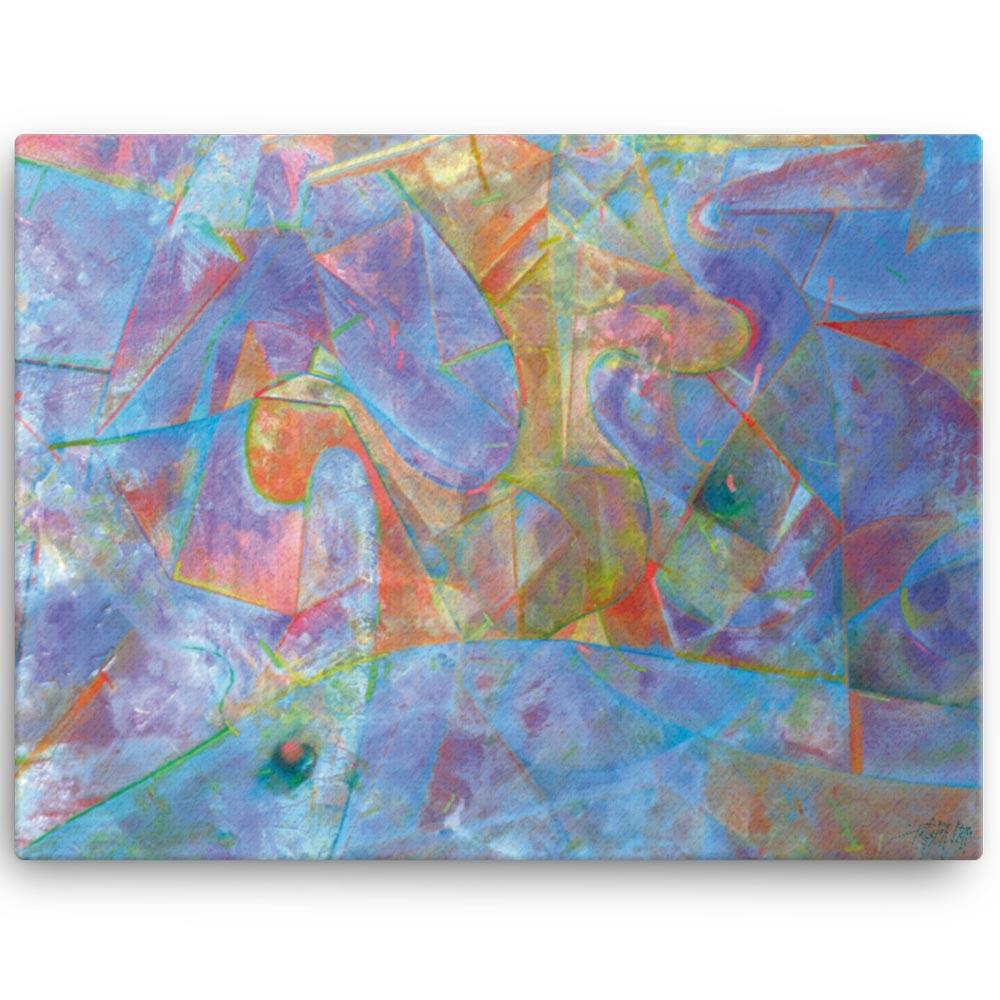 Reproducción de arte en lienzo 46x61 cm - Espacio de Comunicación - Encáustico - Geometria y Abstracción - Matérica -pintado por Fernando Pagador