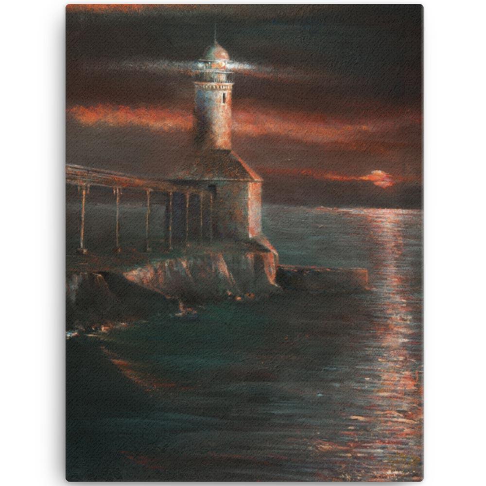 Reproducción de arte en lienzo 46x61 cm - Matutino - Óleo - Paisaje costero - Impresionismo -pintado por Fernando Pagador