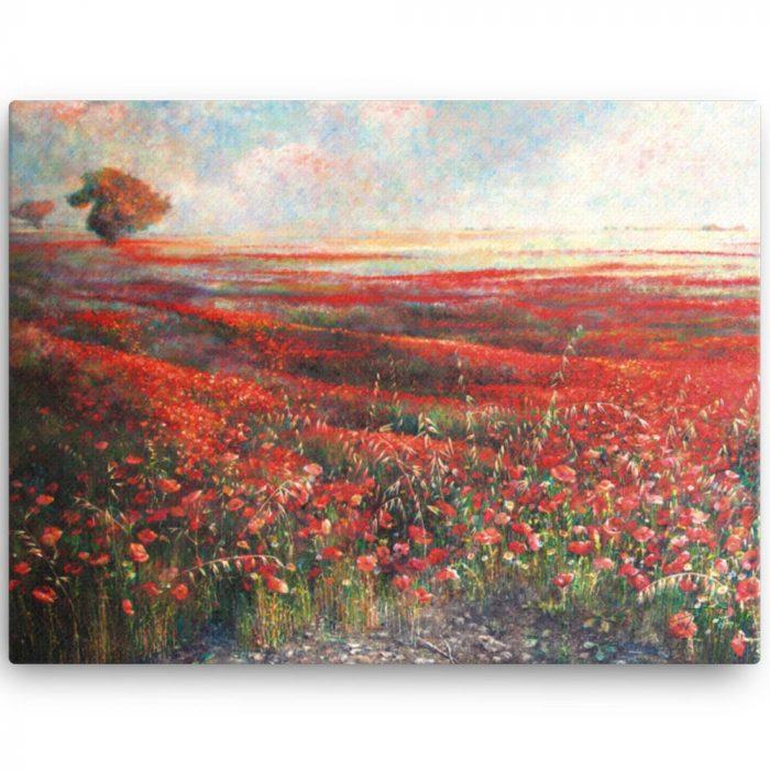 Reproducción de arte en lienzo 46x61 cm - Termino de Valverde 1 - Óleo - Paisaje - Naturalismo -pintado por Fernando Pagador