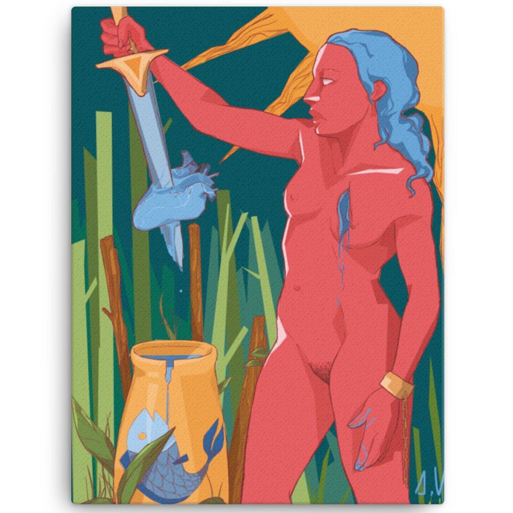 Reproducción de arte en lienzo 46x61 cm - La Fuerza de Acuario - Diseño Digital - Zodiaco - Ilustración -pintado por Aida Valdayo