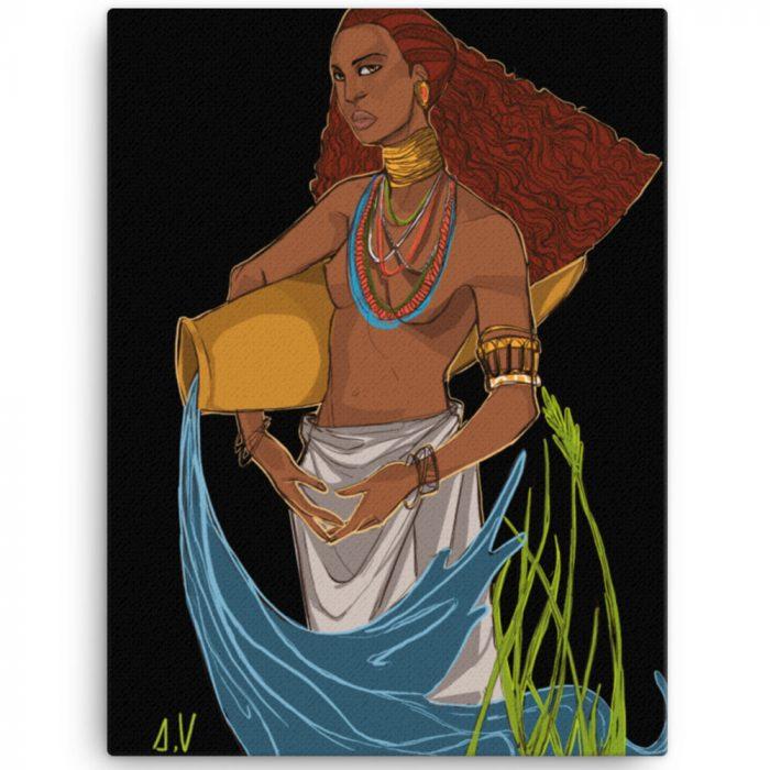 Reproducción de arte en lienzo 46x61 cm - El Espiritu de Acuario - Diseño Digital - Zodiaco - Ilustración -pintado por Aida Valdayo