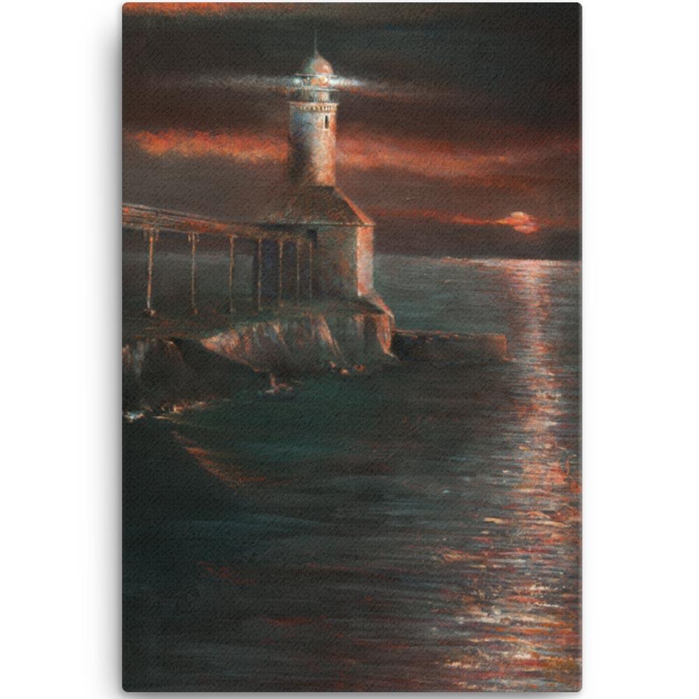 Reproducción de arte en lienzo 61x91 cm - Matutino - Óleo - Paisaje costero - Impresionismo -pintado por Fernando Pagador