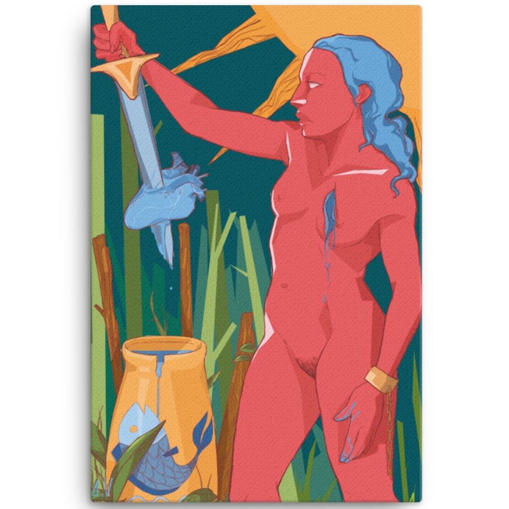 Reproducción de arte en lienzo 61x91 cm - La Fuerza de Acuario - Diseño Digital - Zodiaco - Ilustración -pintado por Aida Valdayo