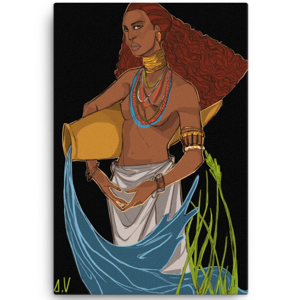 Reproducción de arte en lienzo 61x91 cm - El Espiritu de Acuario - Diseño Digital - Zodiaco - Ilustración -pintado por Aida Valdayo