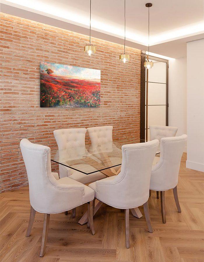 Reproducción de arte en lienzo - comedor con pared de ladrillo - Termino de Valverde 1 - Óleo - Paisaje - Naturalismo -pintado por Fernando Pagador
