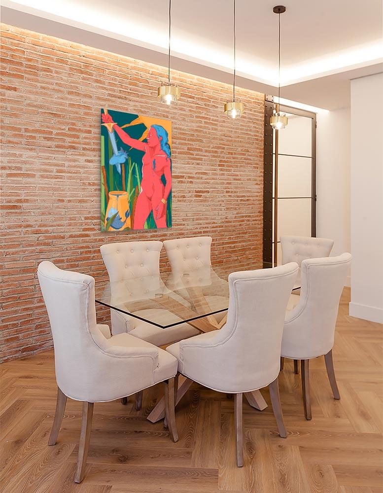 Reproducción de arte en lienzo - comedor con pared de ladrillo - La Fuerza de Acuario - Diseño Digital - Zodiaco - Ilustración -pintado por Aida Valdayo