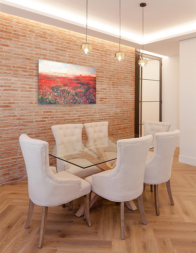 Reproducción de arte en lienzo - comedor con pared de ladrillo - Termino de Valverde 3 - Óleo - Paisaje - Naturalismo -pintado por Fernando Pagador