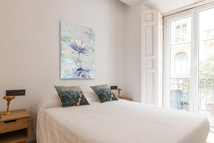 Reproducción de arte en lienzo - dormitorio con balcón - Agua II - Óleo - Paisaje - Naturalismo -pintado por Fernando Pagador