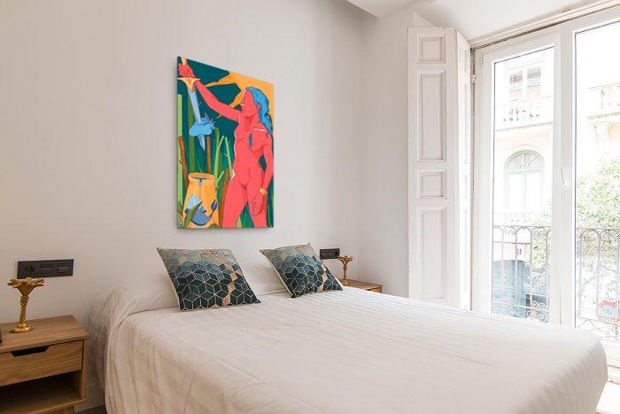 Reproducción de arte en lienzo - dormitorio con balcón - La Fuerza de Acuario - Diseño Digital - Zodiaco - Ilustración -pintado por Aida Valdayo