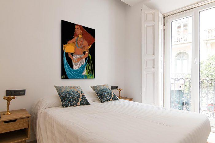 Reproducción de arte en lienzo - dormitorio con balcón - El Espiritu de Acuario - Diseño Digital - Zodiaco - Ilustración -pintado por Aida Valdayo