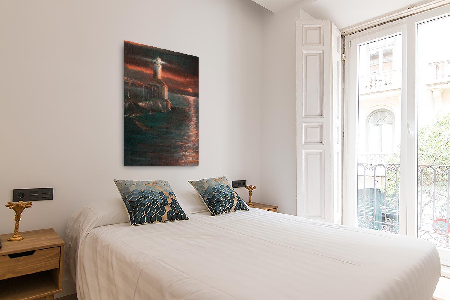 Reproducción de arte en lienzo - dormitorio con balcón - Matutino - Óleo - Paisaje costero - Impresionismo -pintado por Fernando Pagador