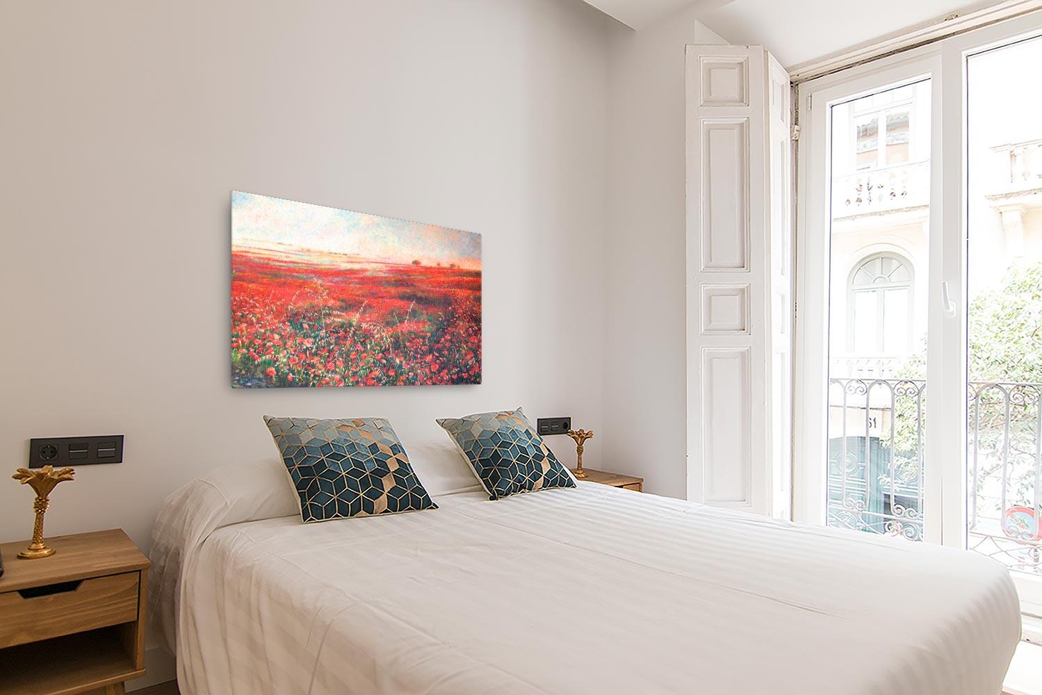 Reproducción de arte en lienzo - dormitorio con balcón - Termino de Valverde 3 - Óleo - Paisaje - Naturalismo -pintado por Fernando Pagador