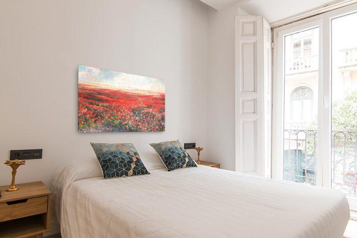 Reproducción de arte en lienzo - dormitorio con balcón - Termino de Valverde 2 - Óleo - Paisaje - Naturalismo -pintado por Fernando Pagador