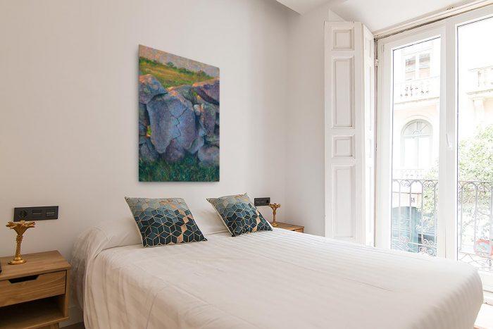 Reproducción de arte en lienzo - dormitorio con balcón - Ancestros - Óleo - Paisaje - Naturalismo -pintado por Fernando Pagador