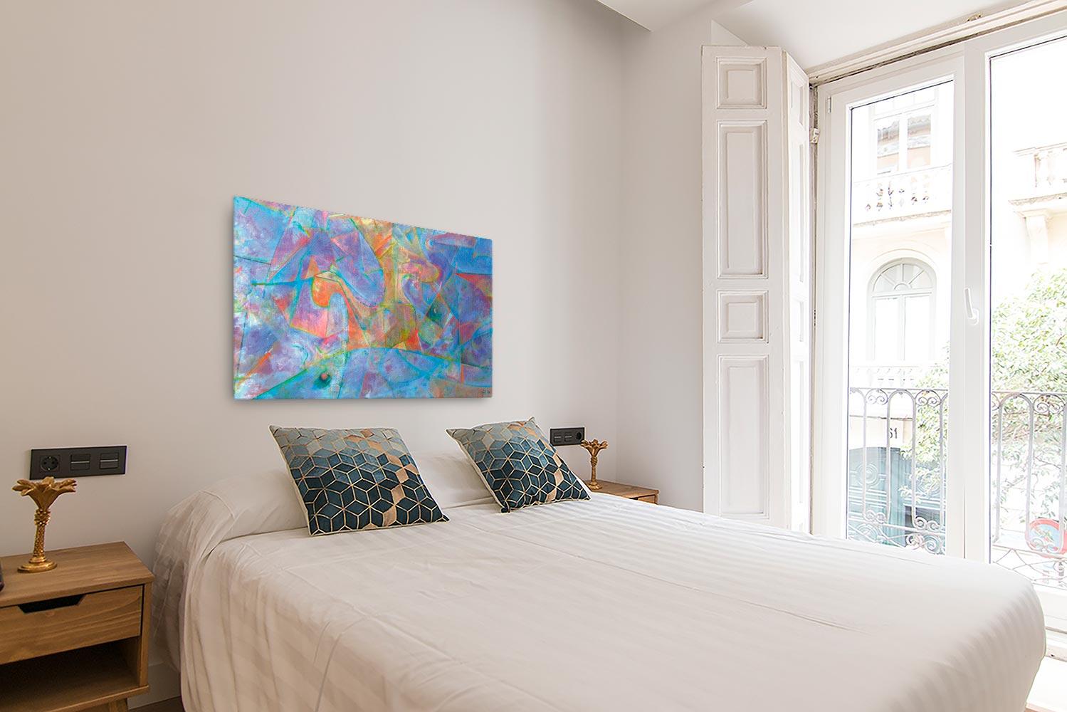 Reproducción de arte en lienzo- dormitorio con balcón - Espacio de Comunicación - Encáustico - Geometria y Abstracción - Matérica -pintado por Fernando Pagador