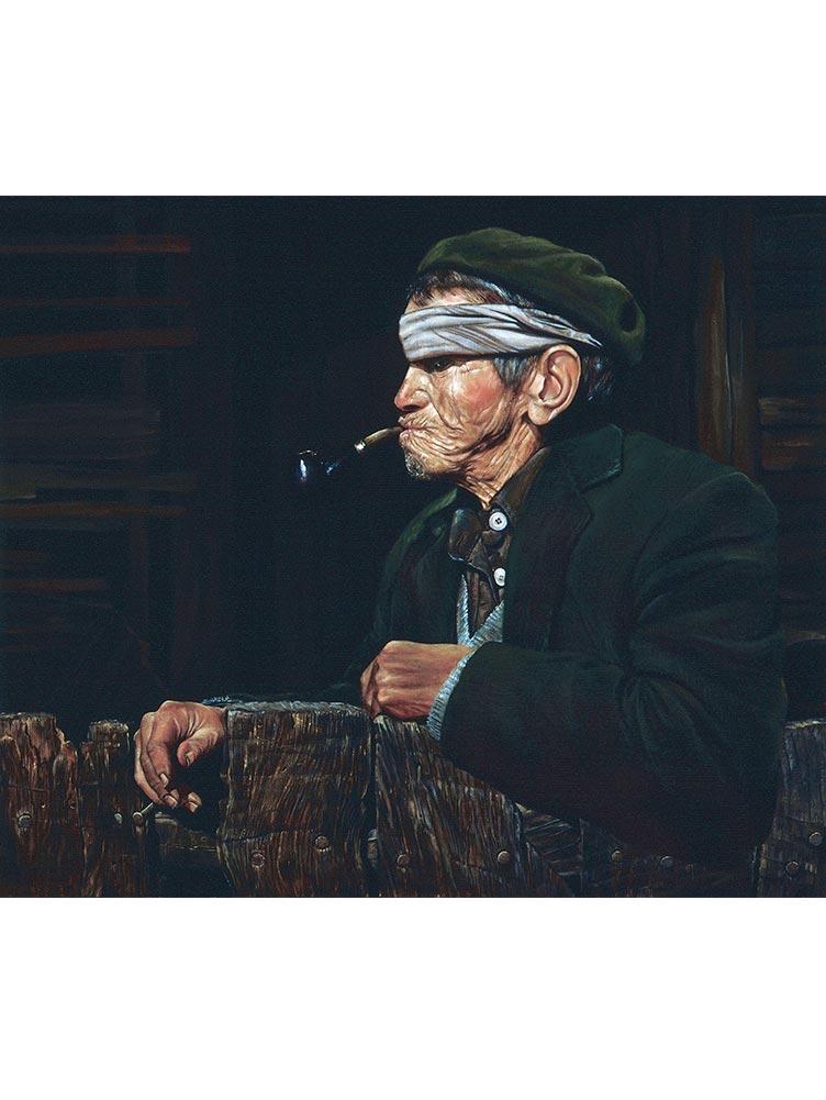 Reproducción de arte - imagen destacada- Fumador - Óleo - Realismo - pintado por Fernando Pagador