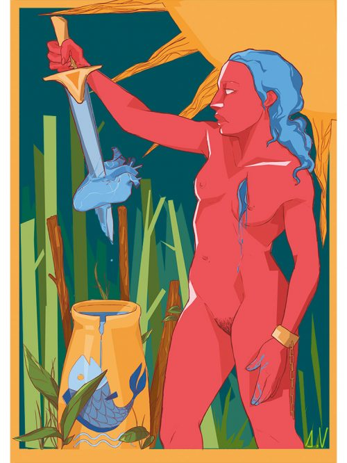Reproducción de arte - imagen destacada - La Fuerza de Acuario - Diseño Digital - Zodiaco - Ilustración -pintado por Aida Valdayo