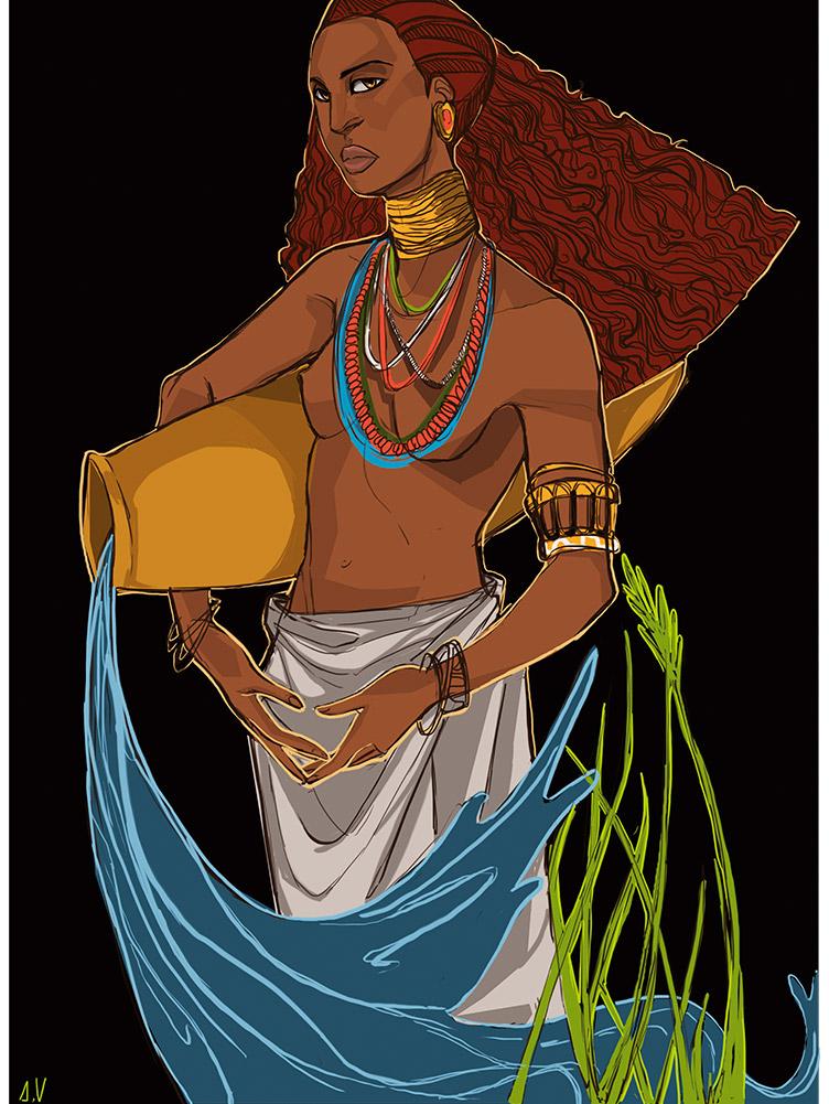 Reproducción de arte - imagen destacada - El Espiritu de Acuario - Diseño Digital - Zodiaco - Ilustración -pintado por Aida Valdayo