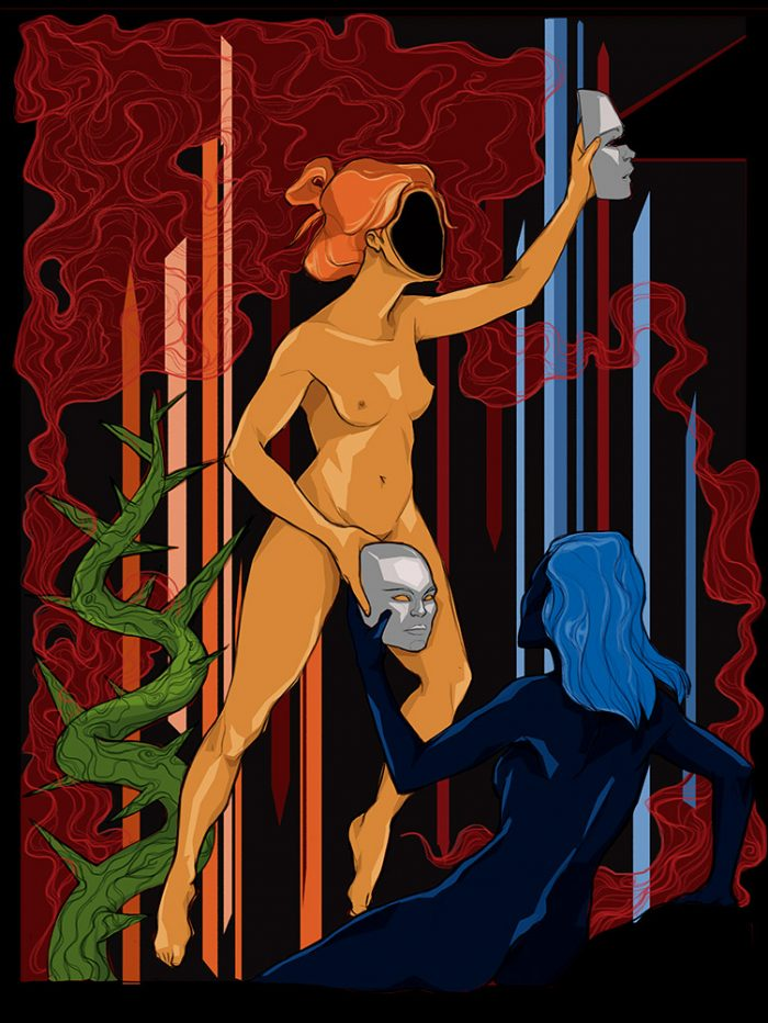 Reproducción de arte - imagen destacada - La Visión de Géminis - Diseño Digital - Zodiaco - Ilustración -pintado por Aida Valdayo