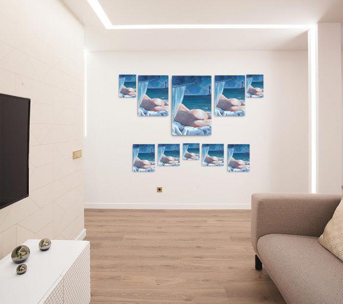 Reproducción de arte en lienzo - salón - Momento de Descanso - Óleo - Paisaje con modelo - Realismo -pintado por Fernando Pagador