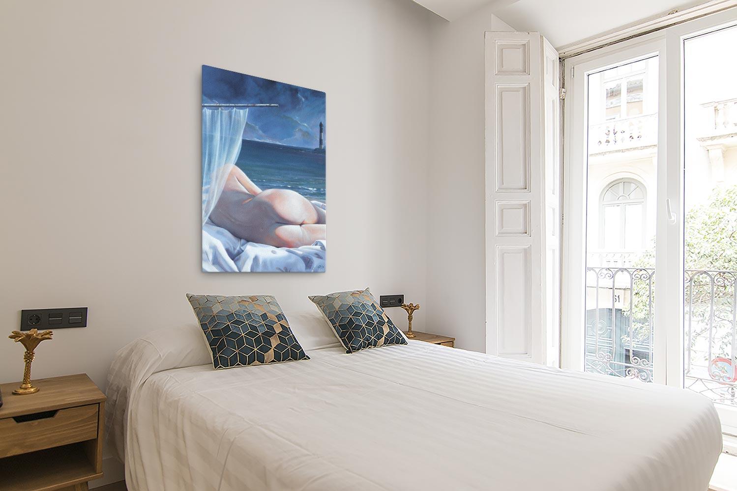 Reproducción de arte en lienzo - Dormitorio con Balcón - Momento de Descanso - Óleo - Paisaje con modelo - Realismo -pintado por Fernando Pagador